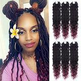 Lihui Goddess Locs Crochet Hair Wavy Faux Locks Crochet Hair For Black Women Curly Goddess Faux Locks Crochet Hair Pre Looped Crochet Faux Locks Hair Extensions(14inch(6-PACKS), #1B/530)