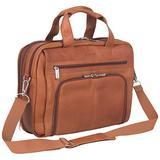 """Kenneth Cole Reaction Manhattan Colombian Leather Briefcase Expandable RFID 15.6"""" Laptop Portfolio Shoulder Bag, Cognac, One Size"""
