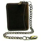 Bikers Crazy Horse Brown Italian Style Leather Euro Bifold Zipper Chain Wallet for Men's Trucker 20' inch long chain