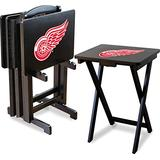 Imperial Officially Licensed NHL Merchandise: Foldable Wood TV Tray Table Set with Stand, Detroit Red Wings