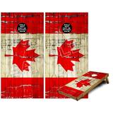 Cornhole Bag Toss Game Board Vinyl Wrap Skin Kit - Painted Faded and Cracked Canadian Canada Flag (fits 24x48 Game Boards - Gameboards NOT Included)