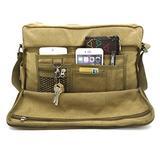 """Laptop Messenger Shoulder Bag Multifunction Canvas Messenger Bag Handbag Crossbody Laptop Shoulder Messenger Bag for 15"""" Laptop Khaki"""
