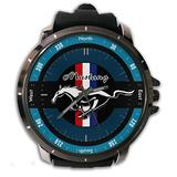 Hot New Custom Ford Mustang Horse Blue Logo Wristwatch Sport Big Face Rubber Band