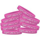Fight Like a Girl Hybrid Silicone Wristband for Breast Cancer Awareness - Pink (10 Pack)