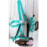 PRORIDER Horse Noseband Tack Bronc Leather Halter Tiedown Lead Rope Equine Rodeo 280M7986