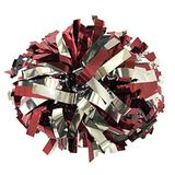 "kuugear Pair 2-Color 6"" Metallic Cheerleading Pom Pom with Baton Handle - Maroon/Silver"