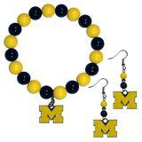 NCAA Siskiyou Sports Womens Michigan Wolverines Fan Bead Earrings and Bracelet Set One Size Team Color