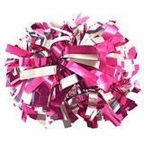 "kuugear Pair 2-Color 6"" Metallic Cheerleading Pom Pom with Baton Handle - Hot Pink/Silver"