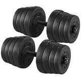 YAHEETECH 66LB Weight Dumbbell Set Fitness Adjustable Cap Gym/Home Barbell Plates Body Workout for Women and Men Strength Training