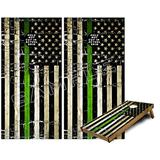 Cornhole Bag Toss Game Board Vinyl Wrap Skin Kit - Painted Faded and Cracked Green Line USA American Flag (fits 24x48 Game Boards - Gameboards NOT Included)
