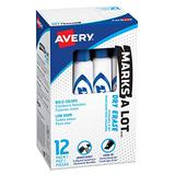 Avery Marks A Lot Dry Erase Markers, Low Odor White Board Markers with Chisel Tip, 12 Blue (24406)