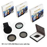 Zomei 4 in 1 Cell Phone Camera Lens Kit, 10X Close Up Macro Lens + Fader ND2-400 Filter + CPL Polarizing Filter with 37mm Clip for iPhone Samsung Android Smartphones