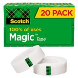 Scotch Magic Tape, 20 Rolls, Numerous Applications, Invisible, Engineered for Repairing, 3/4 x 1000 Inches, Boxed (810K20)