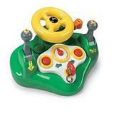 TOMY John Deere Busy Driver Car Simulator & Tractor Toy with Steering Wheel & Sounds , Green