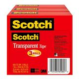 Scotch Transparent Tape, 1 in x 2592 in, 3 Boxes/Pack (600-72-3PK)