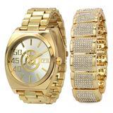Men's 14k Gold Plated Metal Hip Hop FB Silver Face Wrist Watch & Bracelet Fully Cz
