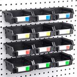 Right Arrange Pegboard Bins - 12 Pack Black - Hooks to Any Peg Board - Organize Hardware, Accessories, Attachments, Workbench, Garage Storage, Craft Room, Tool Shed, Hobby Supplies, Small Parts