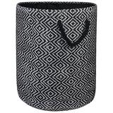 """DII Woven Paper Basket or Bin, Collapsible & Convenient Home Organization Solution for Bedroom, Bathroom, Dorm or Laundry (Large Round - 15x20""""), Black & White Diamond Basketweave"""