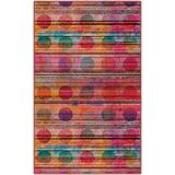 """Brumlow Mills Miami Sunset Contemporary Abstract Geometric Area Living Room Bedroom, Kitchen Mat, Dining or Entryway Rug, 3'4"""" x 5', Multi-colored"""