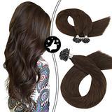 Moresoo 18 Inch Brown U Tip Hair Extensions Fusion Hair Extensions Remy Soft Hair Keratin Tip Hair Extensions Color #4 Dark Brown Hair Extensions Pre Bonded U Tip Human Hair Extensions 50g 50s