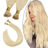 Ugeat Itip Human Hair Extensions Natural Straight Real Hair 16 Inch Blonde Hair Extensions Remy Brazilian Human Hair Extensions Fusion Hair Extensions 0.8g/s 40g/50strands