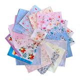 "Cinyifan 10Pcs Elegant Flower Print Soft Cotton Ladies Handkerchief Vintage Gift Hanky 16""16"""