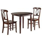 Winsome Clayton 3-PC Set Drop Leaf Table with 2 Keyhole Back Chairs Dining, Walnut