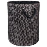 """DII Woven Paper Basket or Bin, Collapsible & Convenient Home Organization Solution for Bedroom, Bathroom, Dorm or Laundry (Large Round - 15x20""""), Brown & Black Diamond Basketweave"""