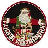 Peking Handicraft Santa Christmas Area Rug Pillow, Red/Black