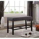 Roundhill Furniture Biony Fabric Counter Height Dining Bench with Nailhead Trim, Grey