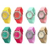 Fashion Watch Wholesale 10 Pack Assorted Geneva Silicone Watches with Rhinestones