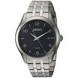 Seiko Men's Dress Stainless Steel Japanese-Quartz Watch with Stainless-Steel Strap, Silver, 17.5 (Model: SNE489)