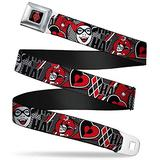 """Buckle-Down Seatbelt Belt - Harley Quinn Poses/HAHAHA!/Diamonds/Hearts Halftone White/Black/Red - 1.0"""" Wide - 20-36 Inches in Length"""