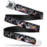 "Buckle-Down Seatbelt Belt - Justice League New 52 Wonder Woman/Superman/Batman Grays/Multi Color - 1.0"" Wide - 20-36 Inches in Length"