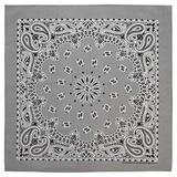 100% Cotton Western Paisley Bandanas (22 inch x 22 inch) Made in USA - Silver Dozen Packed 22x22 - Use For Handkerchief, Headband, Cowboy Party, Wristband, Head Scarf - Double Sided Print