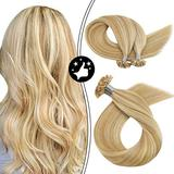 Moresoo 16 Inch U Tip Hair Extensions Human Hair Extensions Fusion Extensions Keratin Glue Color #14 Honey Blonde Mixed with #613 Bleach Blonde Pre Bonded Hair Extensions 50S 50G Per Pack