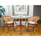 3 Pcs Pelangi Rattan Wicker Dining Set Round Table Glass Top and 2 Arm Chairs, Colonial Color