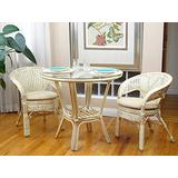3 Pcs Pelangi Rattan Wicker Dining Set Round Table Glass Top and 2 Arm Chairs, White Wash Color