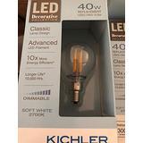 Kichler Globe Candelabra 40W Equivalent 4w Dimmable G16.5 Vintage LED Decorative Light Bulb Vintage Antique Style Light Bulb