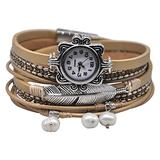 """MINILUJIA Mother's Gift Vintage Casual Bohemian Style Women Leather Watch Small Watch Face Double Wrap Around Watch with Feather Pearl Magnetic Clasp Beige Strap (11.8"""")"""