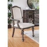 August Grove® Abbottstown Arm Chair in Rustic Natural Wood/Upholstered/Fabric in Brown/Gray/Green, Size 42.25 H x 27.5 W x 26.0 D in | Wayfair