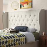 Brayden Studio® Teston Tufted Linen Upholstered Wingback Headboard Upholstered/Metal/Polyester/Polyester Blend in Black   Wayfair BRAY3727 38312566