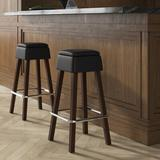 """DHC Furniture 29.5"""" Bar Stool Wood/Upholstered/Leather/Faux leather in Brown, Size 30.0 H x 15.0 W x 16.0 D in 
