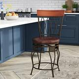 Darby Home Co Abbey Glen Bar & Counter Swivel StoolUpholstered/Leather/Metal/Faux leather in Brown, Size 42.0 H x 21.0 W x 20.25 D in | Wayfair