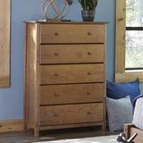 Grain Wood Furniture Shaker 5 Drawer Standard Dresser Wood in Brown, Size 49.6 H x 34.1 W x 18.0 D in | Wayfair SH0704