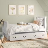 Alcott Hill® Emst Sleigh Bed w/ TrundleWood in White, Size 59.0 W x 87.0 D in   Wayfair LARK2400 27884419
