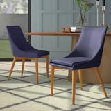 Mercury Row® Blaisdell Linen Upholstered Side Chair in Natural OakUpholstered/Fabric in Blue, Size 34.25 H x 24.0 D in | Wayfair MROW5819 32328099