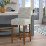 """Rosecliff Heights Thorndale 30"""" Bar Stool Wood/Upholstered in Gray, Size 44.0 H x 19.0 W x 24.0 D in 