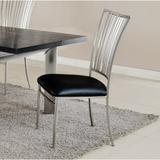 Orren Ellis Ashtyn Upholstered Metal Slat Back Side Chair in Brushed NickelFaux Leather/Upholstered/Metal in Gray | Wayfair ORNE2435 41569603