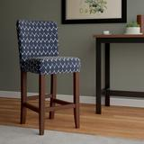 """Rosecliff Heights Thorndale 30"""" Bar Stool Wood/Upholstered in Blue, Size 44.0 H x 19.0 W x 24.0 D in 